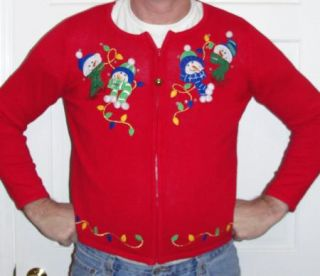Wacky Snowman Party Pom Poms Ugly Christmas Sweater Mens Women L