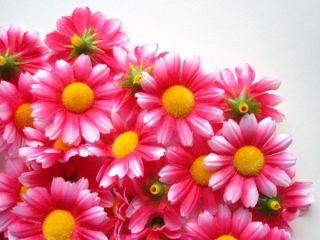 12X Pink Gerbera Daisy Heads Artificial Silk Flowers Wedding Lot Clip
