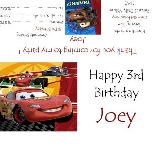 Disneys Pixar Cars 2 Candy Bar Wrappers Birthday Party Favors