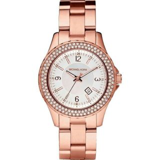 Authentic Michael Kors Small Madison Twin Row Crystal Rose Gold Watch
