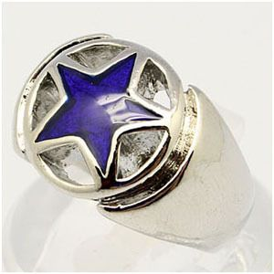 FRG76 New Fashion Blue Star Ring Mens Ring Sz 7 10 5