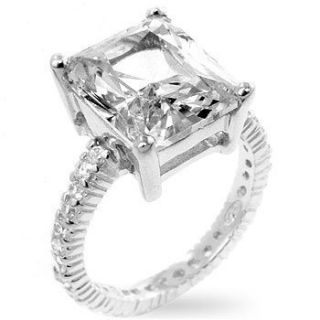 Carat Emerald Cut CZ Cubic Zirconia Ring Eternity
