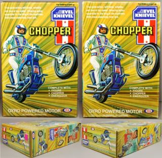 evel knievel 1976 ideal chopper large box set mib