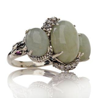 Jewelry Rings Gemstone Jade of Yesteryear 3 Stone Sterling Silver