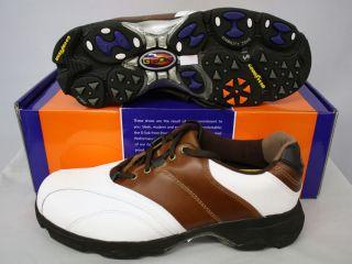 Mens Etonic Golf Shoes G SOK Size 8.5 White/Brown/Black GS101 14 NEW