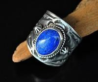 Native Navajo Etta Endito Sterling Silver Lapis Mens Womens Ring S8 25