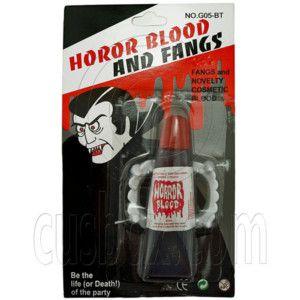 Trick Fake Joke Vampire Fangs Blood Bleeding Teeth