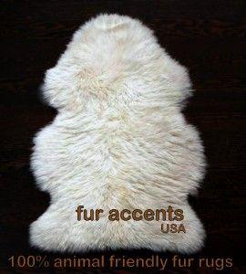Fluffy Sheepskin Accent Rug Faux Fur Mink Rabbit Bear Christmas