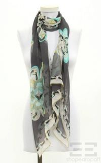 Emilio Pucci Gray, Teal & Yellow Floral & Chain Link Pattern Scarf