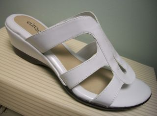 Eurosoft Womens White Open Toe Slip on Casual Sandals Shoes Heels 8 5