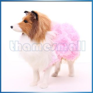 Pet Dog Pink Fleece Rose Flower Vest Dress Coat Clothes Clothing