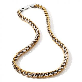 184 344 men s 2 tone stainless steel braided link necklace rating 1 $