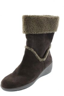 Easy Spirit New Evander Brown Suede Faux Fur Casual Boots Wedges Shoes