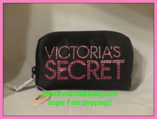 Victorias Secret Black Cosmetic Bag with Pink Rhinestones