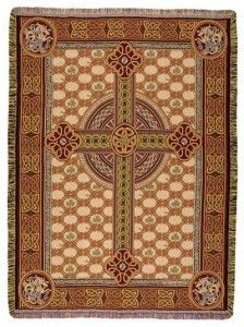 Celtic Cross Christian Tapestry Throw Blanket Afghan