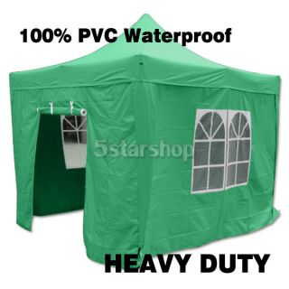 100 PVC Waterproof Green 10x10 Pop Up Canopy Folding Party Tent Gazebo