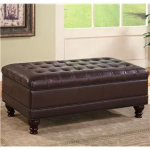 Brown Faux Leather Storage Ottoman Bench Coffee Table