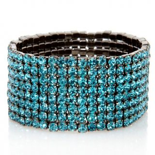 200 544 justine simmons jewelry all over crystal hematite tone stretch