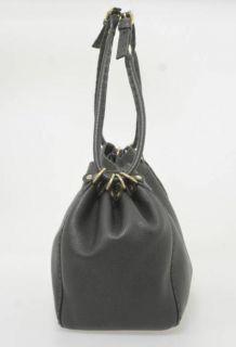 Fendi Selleria Black PEBBLED Leather Cinched Shoulder Bag