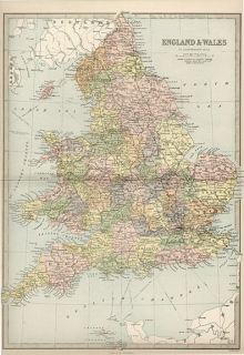 England Authentic Antique Map Fine Genuine 132 Years Old Made in 1880