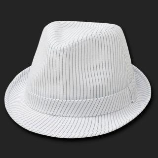 White Pinstripe Woven Fedora Hat Hats Fedoras Size L XL