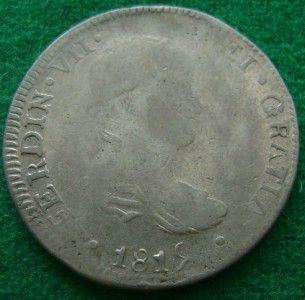 1819 SILVER 8 Reales Ferdin VII King Mexican Coin Do CG Durango