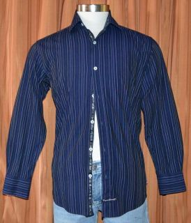 English Laundry LONG SLEEVE BLUE BLACK COTTON STRIPE SHIRT MENS 15 32