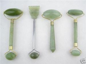 4pc Green Jade Massage Head Neck Face Foot Roller Tool
