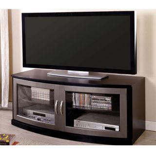 Retro Black Silver Finish Entertainment Console TV Stand