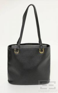 Salvatore Ferragamo Black Cross Grain Leather Shoulder Bag