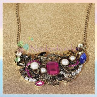 Vintage Colorful Leaf Flowers Pendant Necklace Chain Gift Sweater
