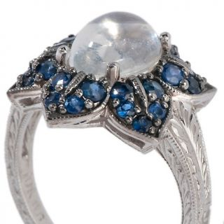 Jewelry Rings Fashion Moonstone and Blue Sapphire 10K White Gold