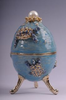 Faberge Egg with turtles pedant by Keren Kopal Swarovski Crystal