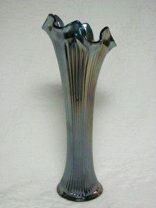 Vintage Fenton Carnvial Glass Cobalt Blue Fine Rib Vase