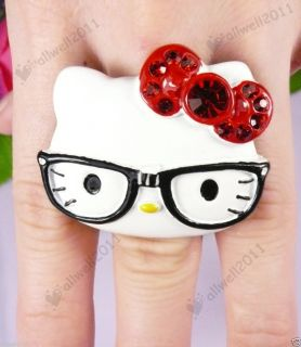 Adorable Hello Kitty Ring Big Face with Glasses Rhinestone Adjustable