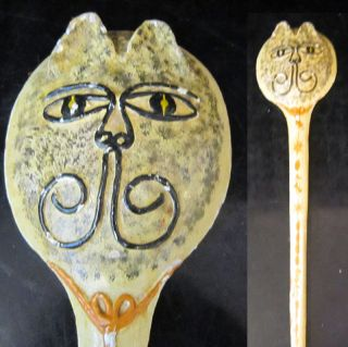 Vintage Carved Shabby Wood Cat Face Hand Mirror Cool