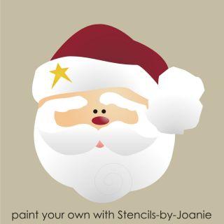 Christmas STENCIL 3 Santa Claus Face Seasonal Holiday Primitive