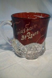 Ruby Red Flash Glass Worlds Fair Cup 1904 St Louis MO