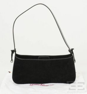Salvatore Ferragamo Black Suede & Patent Leather Trim Shoulder Bag