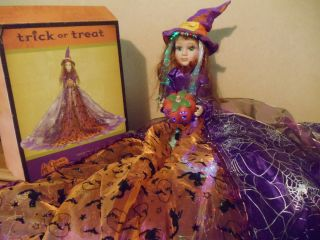 Halloween Cracker Barrel Sitting Witch Doll Fiber optic color GORGEOUS