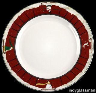 Sakura Winter Journey 11 Dinner Plate Fiddlestix Skiing Santa Snowman