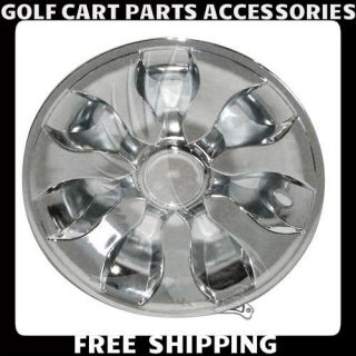 Chrome 8 Golf Cart Hub Caps EZGO Club Car Yamaha Set 4 New Wheel