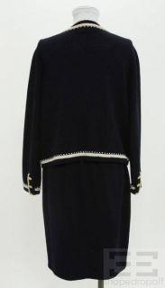 St John for  2 PC Navy Beige Beaded Jacket Skirt Suit