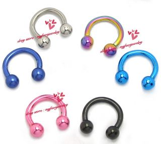 Lot 5 16g 6mm Balls Horseshoes Barbell Tragus Rook Cartilage Ring