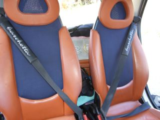 Fiat Barchetta 2 Black PU Leather Seat Belt Pads
