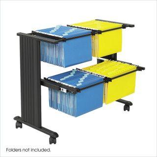 Safco MÜV Double Width Mobile Metal Hanging Files Cart Black Filing