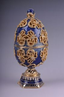 Faberge Easter Egg with swan by Keren Kopal Swarovski Crystal Jewelry