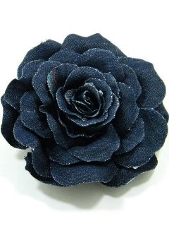 Large Fabric Rose Flower Brooch Pin CFA1 Black 4200