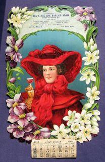 1914 Die Cut Calendar Beautiful Lady in Red Fall River Mass