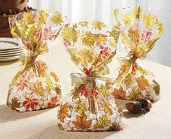 24 Fall Theme Autumn Leaf Cello Cellophane Bags Wedding Party Favor